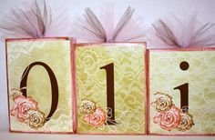 LARGE BLOCKS Shabby Chic Distressed Name Blocks - Love this style!!!   Made with lace patterns, roses, and pearls!!