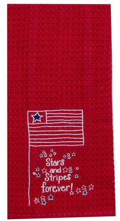 """Stars and Stripes Forever Embroidered 100% Cotton Waffle Dish Towel / Tea Towel, 18"""" x 28"""""""