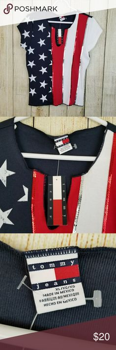 "Patriotic flag top This is a great patriotic top by Tommy jeans. Perfect for the 4th of July .  Size Xl, new with tags. 100% cotton.   Measurements armpit to armpit to armpit 18"" length 23"" Tommy jeans Tops"