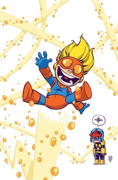New Warriors #1 baby variant by Skottie Young