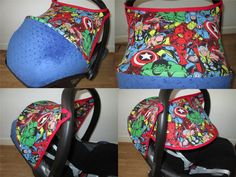 Marvel-Superheroe-Avengers-Hood for MaxiCosi Cabriofix with extra flip out hood by HandicraftForBaby on Etsy https://www.etsy.com/listing/222626341/marvel-superheroe-avengers-hood-for