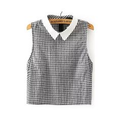 SheIn(sheinside) Black White Lapel Checker Plaid Blouse (230 MXN) ❤ liked on Polyvore featuring tops, blouses, shirts, crop tops, black, black and white checked shirt, plaid shirts, sleeveless collared shirt, sleeveless collared blouse and black and white shirt