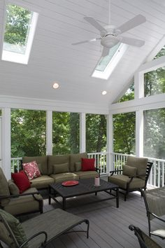 Screened porches can add another element of enjoyment to your home. Include vaulted ceilings & skylights and create a bright and airy feel.