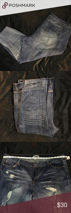 Distressed Skinny Jeans from Charlotte Russe Jeans have never been worn but they were altered because I'm short. Once altered, they ended up being too big on my waist. Pictures show measurements. Charlotte Russe Jeans Skinny