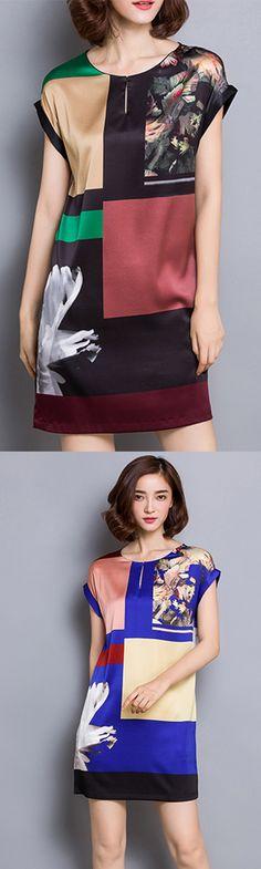 Women's Simple Print Plus Size / Shift Dress,Round Neck Above Knee Silk Dress