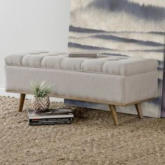 Purchase Online Valerio Upholstered Storage Entryway Bench by George Oliver Diy Storage Ottoman, Storage Bench Seating, Entryway Bench Storage, Upholstered Storage Bench, Living Room Storage, Bench With Storage, Storage Area, Hidden Storage, Bedroom Seating