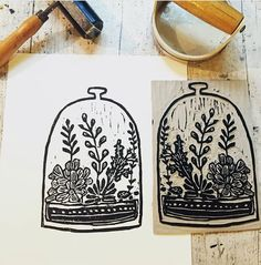 This print is a hand carved, printed and pulled open edition linocut of a terrarium. Paper size ~ Image size ~ approx Image is printed with black water based ink on white archival paper. Thank you for supporting the art of the hand printed Zentangle, Lino Art, Linoleum Block Printing, Stamp Carving, Handmade Stamps, Fabric Stamping, Linoprint, Stamp Printing, Motif Floral