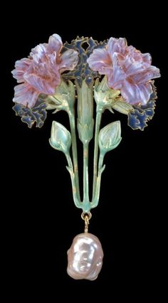 Lalique Brooch: enameled 18K gold, plique-á-jour enamel, pate-de-verre glass, baroque pearl