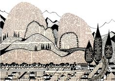 Amazing picture made by newspaper: viticultural landscape on the shore, 1959. #collage #craft #art