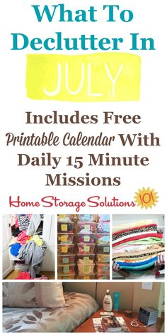July Declutter Calendar 15 Minute Daily Missions For Month Home Storage Solutionscleaning