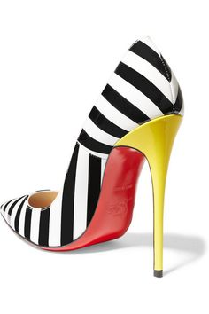 Heel measures approximately 120mm/ 5 inches Black, white and yellow patent-leather Slip on Made in Italy