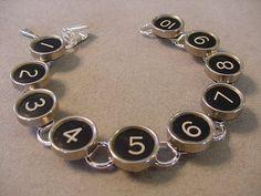 SALE Typewriter Key Bracelet   Basic BLACK NUMBERS by magiccloset, $35.00
