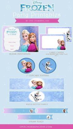 Includes: Frozen Party Invitation Card Frozen Cupcake Toppers Blank labels Straw Flags Water Bottle Labels really FREE tried on 050615 hl Disney Frozen Party, Frozen Themed Birthday Party, 6th Birthday Parties, Birthday Ideas, Freeze, Frozen Party Invitations, Wedding Invitations, Wedding Stationery, Party Favors