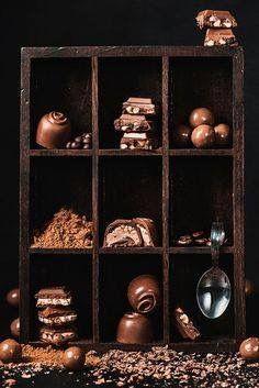 Chocolate collection by Dina (Food Photography) on food photography, food styling, learn food photography Café Chocolate, Chocolate Dreams, Chocolate Heaven, Chocolate Lovers, Chocolate Desserts, Luxury Chocolate, Food Styling, Dark Food Photography, Kakao