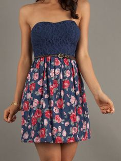 Classic: Lacy, Floral Strapless Dress Short Strapless Casual Print Dress, $49, promgirl.com