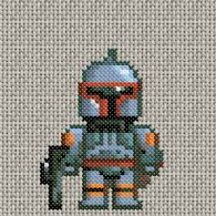 Boba Fett cross stitch.  I am doing this right now on my iPhone cover and it's cute as hell.