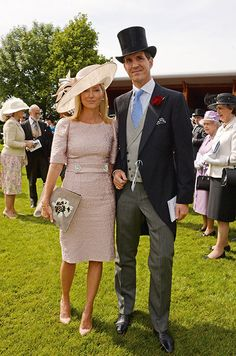 Hello!-Crown Prince and Princess Pavlos of Greece (with a few Royals Behind-Prince and Princess Michael of Kent and Queen Elizabeth) at the Investec Derby, Epsom, Surrey, June 7, 2014.  Marie-Chantal is wearing the same Dolce & Gabbana dress that Crown Princess Victoria wore to her niece's christening.