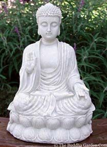 Protection Buddha / Overcoming Fear Buddha with right hand raised and facing outwards has 2 common meanings. The first is that of the Protection Buddha, as the raised right hand symbolically represents a shield. The second meaning, Overcoming Fear, (since one who is receiving protection would be less fearful). This statue signifies courage and offers protection from fear, delusion and anger.
