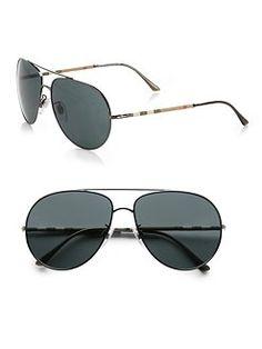 Burberry - Metal Aviator Sunglasses  #SaksLLTrip
