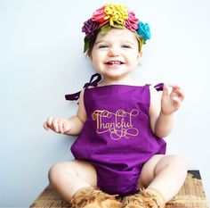 Romper - Thanksgiving - harvest - purple - baby romper - bodysuit - Autumn - Fall - kona cotton - jumper