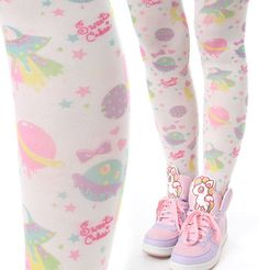 Tokyo Decora Cutie Cosmo Astro Alien Elf Kawaii Pastel Space Orbit Star Soucer #Select #Tights
