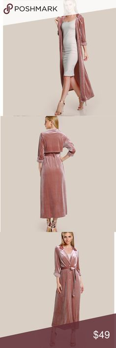 ✨Blush Pink Velvet Belted Duster✨ Stunning and super chic blush pink colored velvet duster!! Long sleeved, belted, button closure in front, velvet material, medium weight, lovely blush pink color. No lining. Beautiful sheen to it and looks fabulous worn open or buttoned up. Polyester/spandex fabric so there's nice stretch to it. Brand new from manufacturer💖Such a great coat for your wardrobe! 💫 Boutique Jackets & Coats Trench Coats