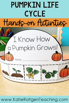Fall is here and my preschool, kindergarten, and first grade students are so excited about these low-prep, printable pumpkin activities! With a pumpkin life cycle flip book, sequencing cards, vocabulary cards, and a colorful crown your centers, small groups, or station work will be packed with loads of fall fun! These pumpkin life cycle activities are interactive, engaging, and loads of fun!