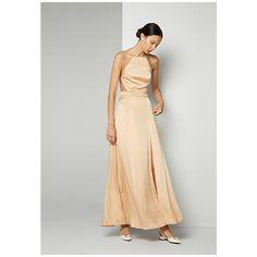 Champagne Cream Silk Dreamer Dress ($379) ❤ liked on Polyvore featuring dresses, champagne, champagne dress, halter formal dress, silk halter top, cream formal dresses and silk halter dress