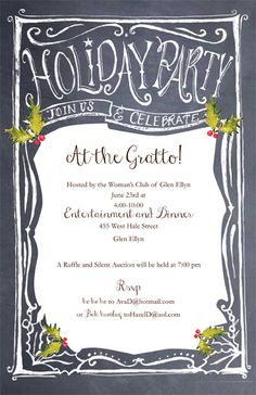 Order your Holiday Invitations at The Paper Merchant...great Bella Ink Chalkboard invitation with ruby gem <3