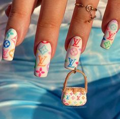 Gorgeous Nails, Pretty Nails, Teen Nails, Louis Vuitton Nails, Really Cute Nails, Acryl Nails, Vintage Nails, Diva Nails, Nail Jewelry
