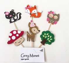 Girl Woodland Creature Cupcake Toppers Set of 12 by GreyMonet