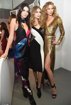 Tremendous trio: Kendall Jenner, Gigi Hadid and Karlie Kloss posed for photos together at the Diane Von Furstenberg 2016 fall presentation as part of New York Fashion Week on Sunday
