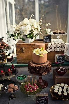 brown wedding dessert table ideas / http://www.himisspuff.com/wedding-dessert-tables-displays/2/