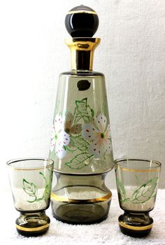 Bohemia Glass Floral Decanter with Two Glasses - Bohemia Glass ...