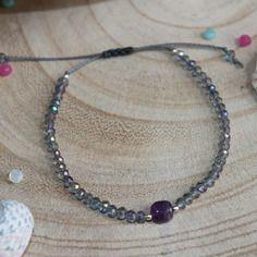 ★ bracelet en perles de cristal et pierre en améthyste ★