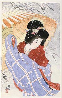 Snowstorm  by Ito Shinsui, 1932   (published by Watanabe Shozaburo)