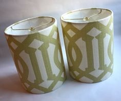 Small lampshade pair featuring authentic Schumacher Imperial Trellis fabric in Citrine by Kelly Wearstler.