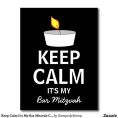 Keep Calm It's My Bar Mitzvah Candle Postcard