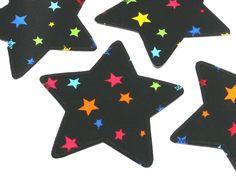 Applikation Stern schwarz-bunt Knieflicken von Silwarin auf DaWanda.com