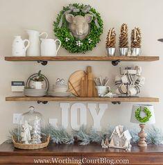 Rustic farmhouse kitchen shelves decorated for style corner decor . Decor, Christmas Kitchen Decor, Christmas Kitchen, Shelves, Rustic Farmhouse Kitchen, Kitchen Decor, Shelf Decor, Kitchen Shelf Decor, Corner Decor