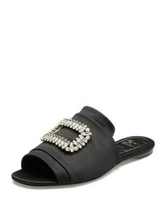 ROGER VIVIER STRASS-BUCKLE SATIN SLIDE SANDAL, BLACK. #rogervivier #shoes #sandals