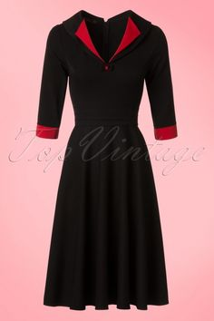 Hulahup TopVintage Exclusive Black Red Swing Dress 102 14 18623 model01W