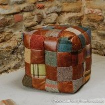 Leather & Tweed Patchwork Cube Footstool
