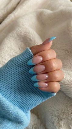 Blue Acrylic Nails, Simple Acrylic Nails, Blue Nails Art, Aqua Nails, Nagel Hacks, Nagellack Design, Acylic Nails, Funky Nails, Fire Nails