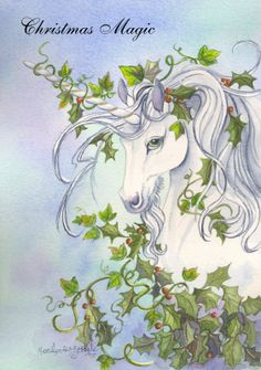 """"""" The Holly, the Ivy and the Unicorn"""" from an original watercolor painting of mine."""
