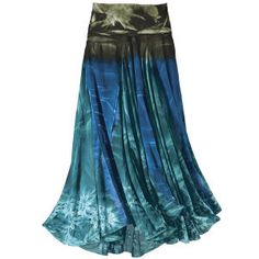 Blues-greens-aquamarines: It's the full spectrum of undersea colors! This tie-dyed, jersey-knit skirt features a rolled waist that folds to various widths. Carefree, comfortable, and pleasingly out-of-the-ordinary! Perfect to wear for a walk on the beach!