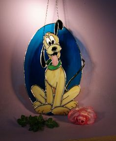 Stained Glass Disney's Pluto 743 by StainedGlassbyWalter on Etsy Disney Stained Glass, Stained Glass Paint, Stained Glass Crafts, Stained Glass Designs, Stained Glass Patterns, Stained Glass Ornaments, Stained Glass Christmas, Tiffany, Blown Glass Art