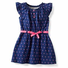 Toddler Girl Carter's Anchor Print Dress. #blue #pink #bow