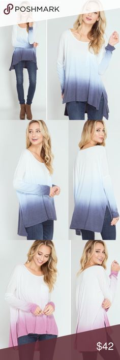 🖤NEW🖤 Ombré Casual Oversized Spring Loose Tunic Adorable casual top. Brand new. Perfect for the spring time. Light weight and comfy. S M L runs true to size. Also available in the pink in my other listings. THIS LISTING IS FOR THE MAIN PHOTO PICTURE-GRAY. Blue is not available Molly Dolly Tops Tunics