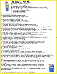 43 uses for WD-40...